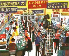 """Drugstore  Miroslav Sasek  Illustration from """"This Is New York"""", 1961"""