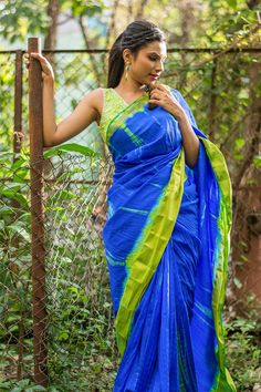 Blue and lime green shibori shaded semi raw silk saree with green tissue border   #saree #blouse #houseofblouse #indian #bollywood #style #blue #limegreen #green #shibori #semi #rawsilk #tissue #border