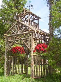 garden arch with bell tower for wind chimes
