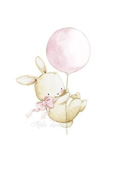 Nursery Art BUNNY with PINK BALLOON Archival