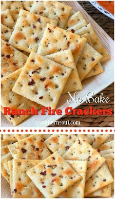 *No Bake* Ranch Fire Crackers - A Southern Soul These ranch, fire crackers are not your average snack! Saltines are transformed into something absolutely addictive with just three ingredients and are an excellent addition to a bowl of soup or stew. Spicy Saltine Crackers, Saltine Cracker Recipes, Seasoned Crackers, Spicy Ranch Crackers Recipe, Appetizer Recipes, Snack Recipes, Cooking Recipes, Snacks, Yummy Recipes