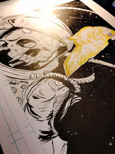'I'm Okay!' ✨#imokay #space #outofthisworld #yellowraven #skulladdiction #skullart #horns #thirdeye #skulladdict #astronaut #spacealien #penandink    #n3rds  #dopeart  #illustration  #artnerd  #undergroundart #acompanyofn3rds  #imayneednewglasses #anartistlifeforme