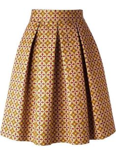 African print skirt, pleated midi skirt ~ African fashion, Ankara, kitenge, Kent... from Diyanu