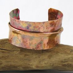 Copper Cuff Bracelet Fold Formed Hammered Torch by HCJewelrybyRose, $40.00