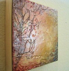 Encaustic Wax Art 8x8 Fossil Etched Leaves Red by WaxArtbyJodyB, $58.00
