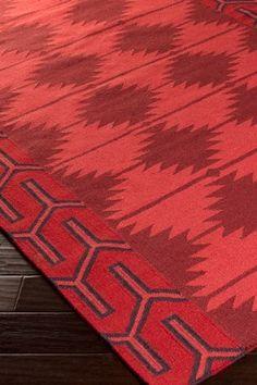 Ornate Folk Art Wool Rug - Cherry