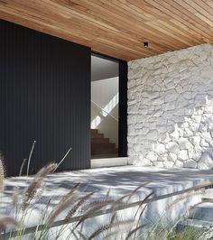 architecture - Bernie's Beach House by Sally Caroline Relaxed, Elegant Coastal Design Modern Exterior, Exterior Design, Cafe Exterior, Colonial Exterior, Modern Colonial, Grey Exterior, British Colonial, House Entrance, Entrance Design
