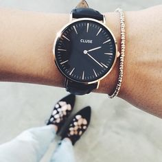 La Boheme Gold black/black ♥️ Designed in Amsterdam are for women who find beauty in simplicity. In store now at Malvetn and online x Trendy Watches, Cool Watches, Women's Watches, Jewelry Accessories, Fashion Accessories, Casual Chique, Look Fashion, Fashion Watches, Gold Watch