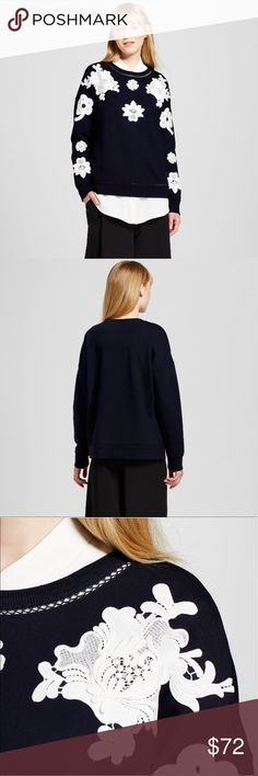 Victoria Beckham for Target sweat top Brand new with tag Navy and white floral lace appliqué sweat top. Victoria Beckham Tops
