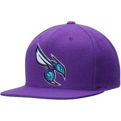 Charlotte Hornets Mitchell & Ness Current Logo Wool Solid Snapback Adjustable Hat - Purple - $29.99