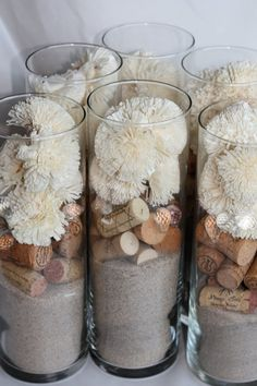 Cork Sola & Sand Wedding Centerpieces set of 6 by rhuevintage, $44.00