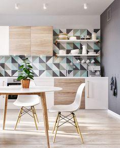 Teal and Grey Kitchen Backsplash Design
