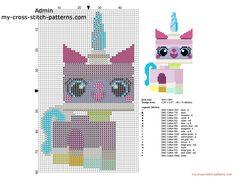 Unikitty The Lego Movie character free cross stitch pattern