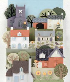 Edwards Village - beautiful paper art by Helen Musselwhite Kirigami, Paper Cutting, 3d Paper, Paper Quilling, Paper Clay, Cut Paper Illustration, Papier Diy, Paper Magic, Cardboard Art