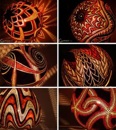 Intricately carved gourd lamps. If I ever have the time I just might have to try to this!