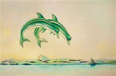 Nicolás García Uriburu, Delfines, Colored grease pencil, ink on paper, 13 x 19.2 in.