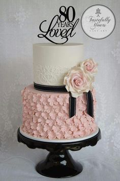 Black white and pink 80th Birthday cake