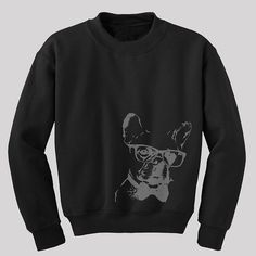 Hipster Pug Dog Sweatshirt Available in s m l xl and by HARKandCo