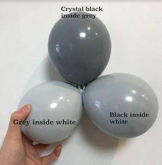 Colour combinations of grey balloons Pastel Balloons, Balloons And More, Balloon Flowers, Balloon Bouquet, Balloon Arch, Balloon Garland, Glitter Balloons, Balloon Arrangements, Balloon Centerpieces