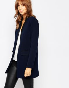 Navy Longline Blazer + Faux Leather Pants, chic work outfit