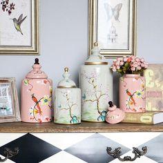 客厅玄关柜摆件美式乡村花鸟罐 欧式田园家居装饰品样板房摆件