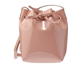 Mansur Gavriel Patent Mini Bucket Bag (5.320.530 IDR) ❤ liked on Polyvore featuring bags, handbags, shoulder bags, blush, beige patent handbag, mini purse, beige shoulder bag, patent leather handbags and mini handbags