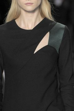 Black dress with asymmetrical panels & cut outs, fashion details // Narciso Rodriguez Fall 2010