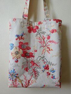 Sac de courses / tote bag en toile coton fleurs sur crème avec doublure - portable sur l'épaule [1]