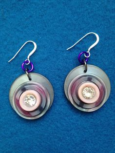 Lightweight Layered Button Earrings, Leftover Buttons Made into Earrings, Grey and Pink Button Earrings, Creative Use for Leftover Buttons by CatterflyStudios on Etsy