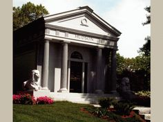 Featured Is A Walk-In Private Family Columbarium with Full Round Fluted Columns. Columbarium was Constructed in Tiffany Grey Granite in a Size of x x Tiffany Gray, Fluted Columns, Memorial Park, Private Property, Side Wall, Monuments, Old World, Granite, Rome