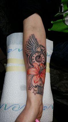 Clock flower tattoo