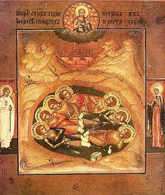 "orthodoxfellowship: "" Today we celebrate the Holy Seven Sleepers of Ephesus. These saints are possibly one of the most interesting in all of Orthodoxy! During the Christian persecutions, these seven soldiers were stripped of their military rank for. Religious Icons, Religious Art, St Maximilian, Resurrection Of The Dead, Pagan Gods, Ephesus, In Ancient Times, Orthodox Icons, Kirchen"