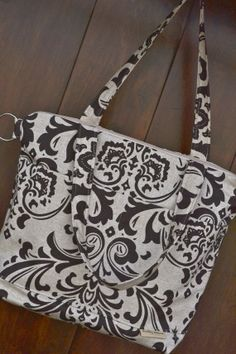 Diaper Bag / Heavy Linen in brown damask  /  Womens by DarbyMack, $79.00