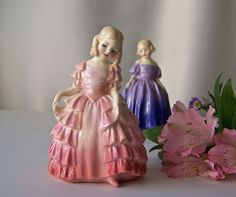 Royal Doulton Figurines Rose And Marie Bone China Signed 1940s Made In England