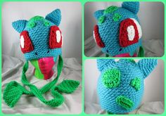 Crocheted Bulbasaur Inspired Hat by Silver Rain www.facebook.com/shopsilverrain silverrain8.deviantart.com This is beautiful! ~ NerdyCrochet