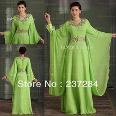 New Arrival 2013 Cheap V Neck Arabic Dubai ABAYA KAFTAN Green Long Sleeve With Beaded Evening Gown Prom Maxi Dress BO0479 $166.75