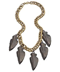 { Mixed Metal Arrowhead Statement Necklace }