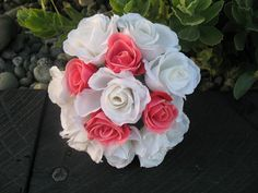 SILK Rose Bouquet Melon with white. by Keepsakebouquets on Etsy