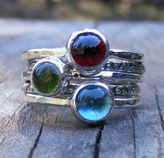 Birthstone Stacking Rings, Garnet, London Blue Topaz and Peridot in Sterling Silver, Mother Ring. $158,00, via Etsy.