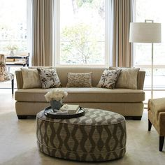 Oval Geometric Ottoman With Chrome Nail Head Trim Is Sucha Great Accent For The Flared Track Arm Modern Sofa In Linen Texture Robert Allen Furniture