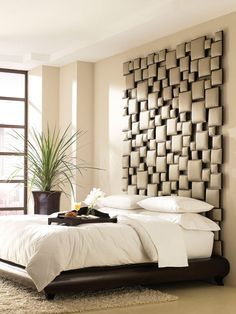 35 Cool Headboard Ideas To Improve Your Bedroom Design.  (try fabric wrapping small pieces of wood and then stick to wall in random patterns...)