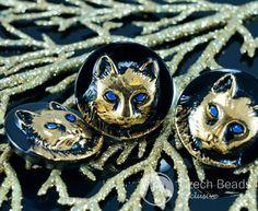Handmade Czech Glass Buttons Gold Cat Blue Eyes Animal Halloween Black Size 10, 22.5mm 1pcColor: Black / Gold / Blue  Size (mm): Size 10, 22.5mm  Hole size (mm): 2mm (approximately)  Shape: Czech Glass But...
