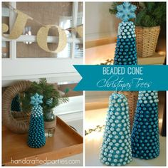 Beaded Cone Christmas Trees {tutorial by Handcrafted Parties}
