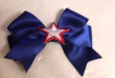 New Handmade Patriotic Satin Ribbon Hair Bows Clips Accessories Hairbows