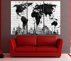 Canvas prints add a unique touch to your home. Modern, stylish and unique design will be the most special piece of your decor. Especially for those who like abstract works, black and white acrylic painting can be prepared in desired sizes  black and white wall art world map canvas print, wonder of the world World Map wall art, extra large wall art for home decor No:6S24   ◆ GALLERY WRAPPED CANVASES We print high quality printer on canvas. 3 cm thick (depth) stretcher bars, side covered…