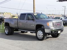 Check out this GMC 3500HD!! This truck is HUGE! This truck has a big lift on it, along with exhaust stacks and much more!! Check it out here only @ Currie Motors Ford  www.currieford.com