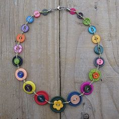 Warm cheerful button necklace