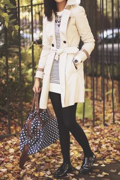 ivory coat, stripes & dots.