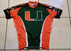 Rare ADRENALINE PROMOTIONS Miami Hurricanes Cycling Jersey Men's Large  | eBay