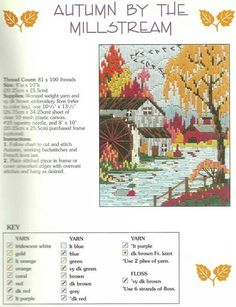 Lovely seasons in long stitch ~ Autumn by the Millstream  8/9